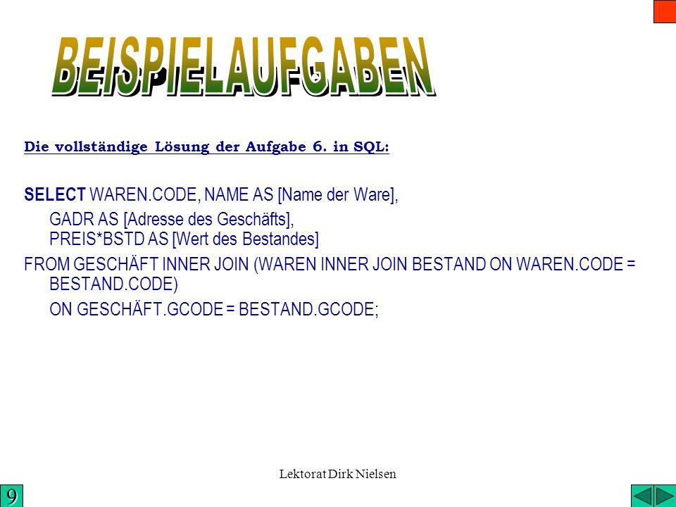 BEISPIELAUFGABEN 9 SELECT WAREN.CODE, NAME AS [Name der Ware],